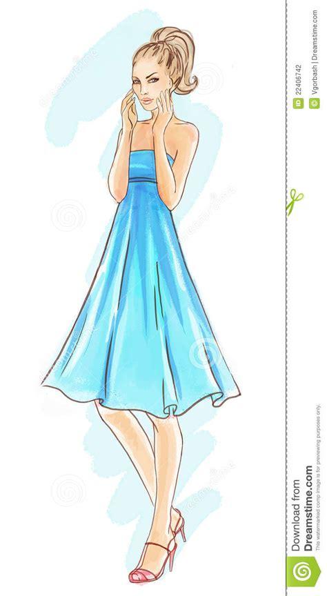 Top Model Web Templates For 2017 by Von Hand Gezeichnet Art Und Weisebaumuster Im Blauen Kleid