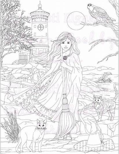 Coloring Pages Witch Adult Fantasy Witches Halloween