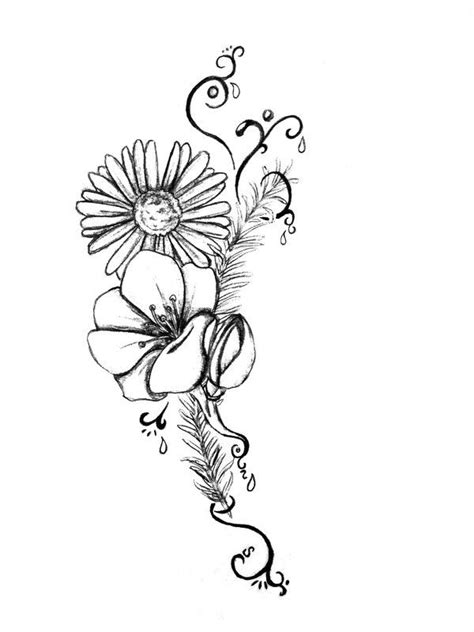 Black And White Daisy Flowers Tattoo Design | Daisy tattoo designs, Lilac tattoo, Lace flower