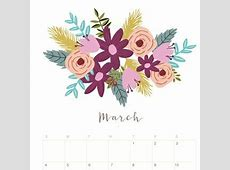 Printable March 2018 Calendar Monthly Planner Flower