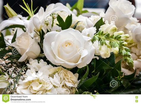 Bouquet Of White Roses And White Lilies Stock Image