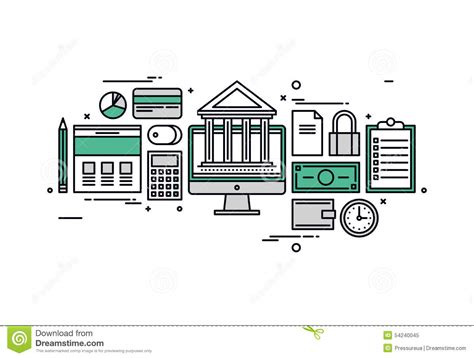 Banking And Finance Line Style Illustration Stock Vector