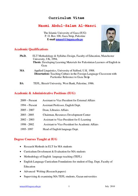 Curriculum Vitae Format For by Thesis Guatemalago