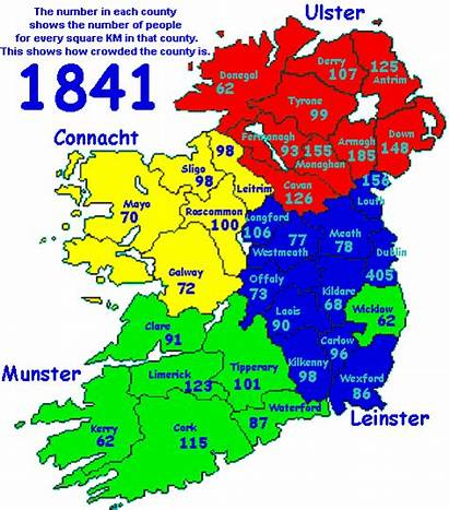 Population Counties Ireland Density Census 1841 Derry