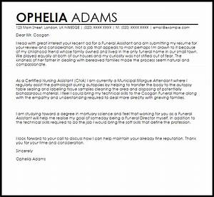 Funeral assistant cover letter sample livecareer for Cover letter for funeral assistant