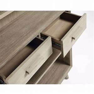 Bibliothèque Basse Bois : biblioth que bois massif gris clair 2 tiroirs 90x195 sam by drawer ~ Teatrodelosmanantiales.com Idées de Décoration