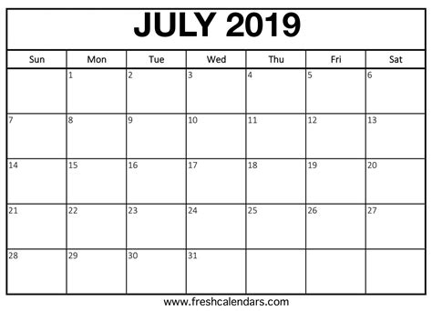 july  calendar printable fresh calendars