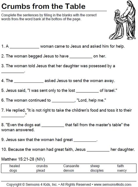 Faith Of The Canaanite Woman  Worksheet  Children Fill In The Blanks As Teacher Tells The