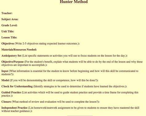 madeline hunter lesson plan template madinbelgrade