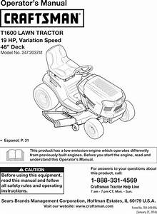 Craftsman 247203741 User Manual Tractor Manuals And Guides
