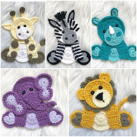 patterns for applique crochet pattern instant pdf zoo animals