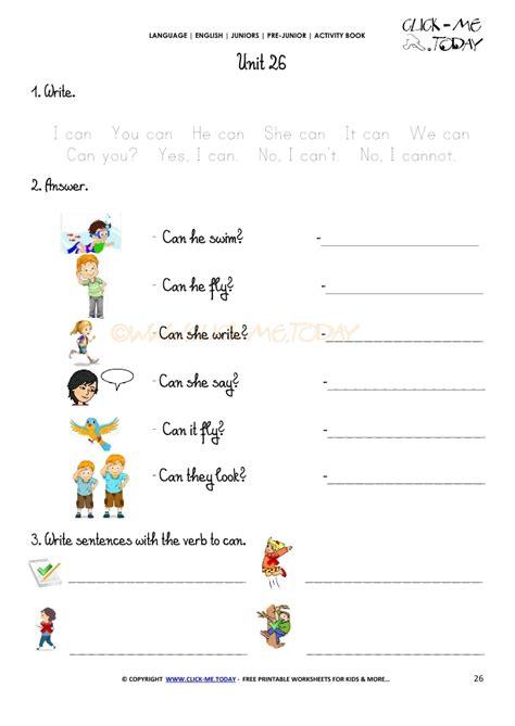 free printable beginner esl pre junior worksheet 26 verb