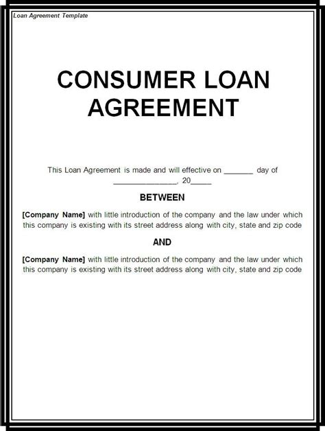 printable sample loan template form laywers template