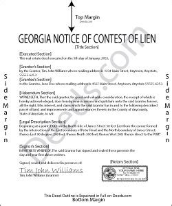 georgia notice of commencement form georgia notice of contest of lien forms deeds