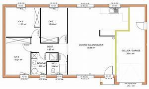 plan maison plain pied trois chambres With plan gratuit de maison 15 plan daccas et contact