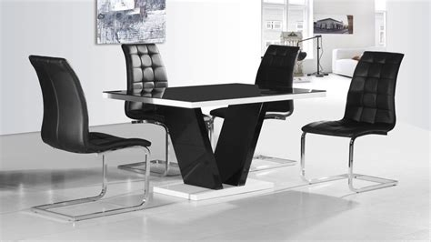 modern black dining table and chairs modern black glass high gloss dining table and 4 chairs ebay
