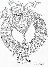Christmas Coloring Pages Mandala Adults Doodles Adult Volwassenen Kerst Wreath Kleurplaat Zentangle Voor Awesome Cool Doodle Printable Drawing Sheets Holiday sketch template