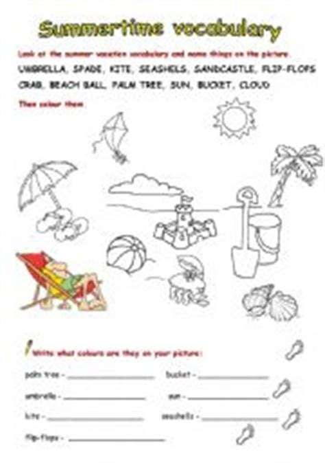 Summer Vacation Vocabulary  Full Version  Esl Worksheet By Zeberka