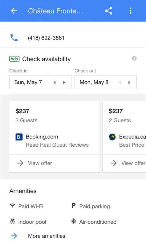 google hotel booking interface tests carousel layout