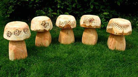 wooden mushroom seats  bug design garden sculpture