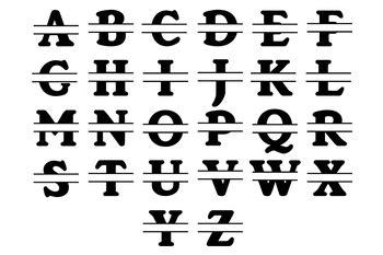 split monogram alphabet svg split monogram letters svg cut files