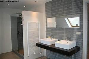 beautiful idee renovation salle de bain pictures amazing With porte de douche coulissante avec beton cire mercadier dans salle de bain renovation carrelage