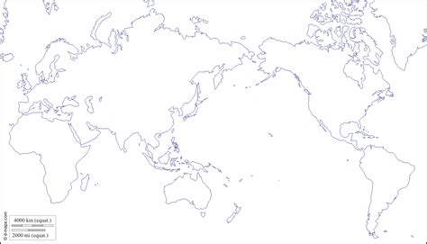 world pacific ocean centered  map  blank map