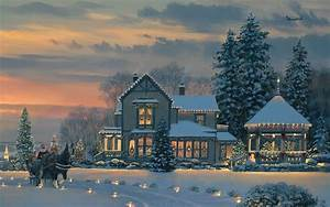 Christmas House Santa Claus HD Wallpaper