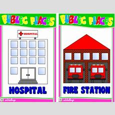 Public Places Flashcards  School  Worksheets For Kids, Fun Learning, English Class