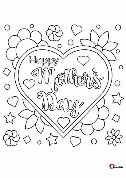 Coloring Happy Pages Flowers Hearts Mother Mothers