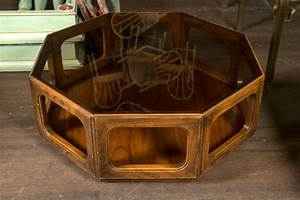 Octagonal midcentury glass top coffee table at 1stdibs for Octagon glass top coffee table