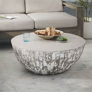 sculpted concrete drum coffee table west elm With outdoor drum coffee table