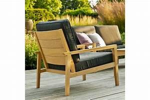 Coussin Fauteuil De Jardin : fauteuil de salon de jardin en bois avec coussin gris ~ Dailycaller-alerts.com Idées de Décoration
