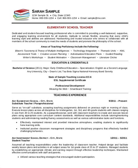 Resume Template For Teachers by Elementary Resume Template 7 Free Word Pdf