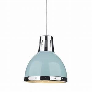Retro style ceiling pendant light pale blue with chrome