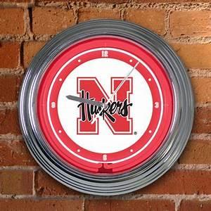 Nebraska Huskers Neon Wall Clock
