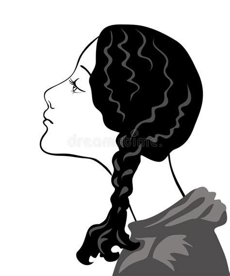 disegni ragazze con trecce ragazza attenta con le trecce nere illustrazione