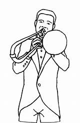 Trombone Coloring Player Printable Freeprintablecoloringpages sketch template
