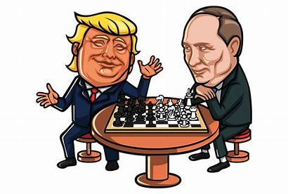 Trump Donald Putin Cartoons Chess Playing Cartoon