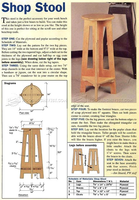 simple shop stool plans woodarchivist