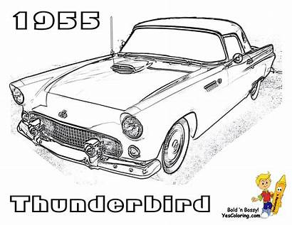 Coloring Pages Cars 1955 Ford Drawing Thunderbird