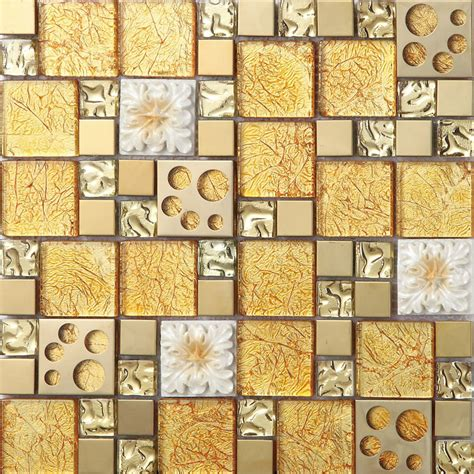 gold glass mosaice tile coating metal tile gold