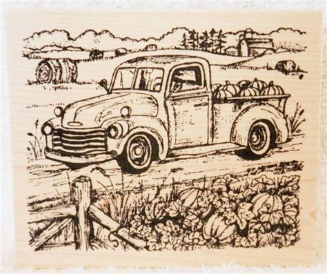 northwoods wood rubber stamp fall pickup truck pumpkin patch farm northwoods pumpkin patch
