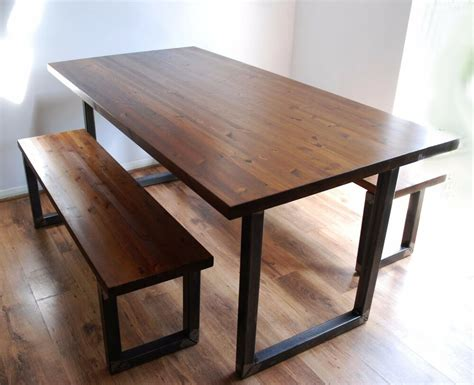 Kitchen Table Sets With Bench by Industrial Vintage Rustic Dining Kitchen Table Bench Set