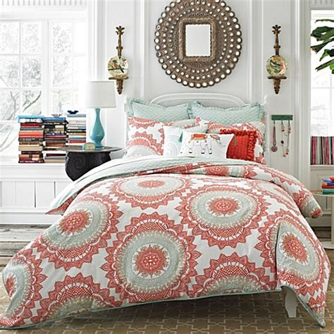 anthology bedding buy anthology bungalow 3 piece reversible full queen comforter set in coral from bed bath beyond