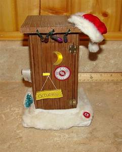 Singing House Lights Animated Santa Outhouse Toilet Figurine Sings Lights Jokes
