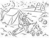 Coloring Camping Campfire Marshmallow Roasting Clipart Printable Picnic Sheets Hiking Adult Hello Going Categories Animals Table Nature Visit Games A4 sketch template