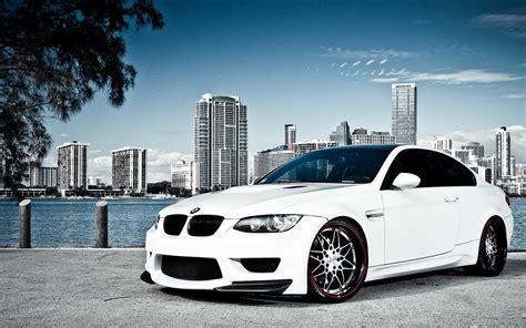 White Bmw M3 Over Miami Wallpaper