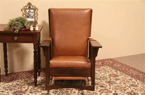 sold arts crafts leather oak morris reclining chair harp gallery antique furniture