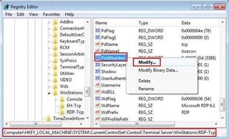 changing remote desktop port in microsoft windows